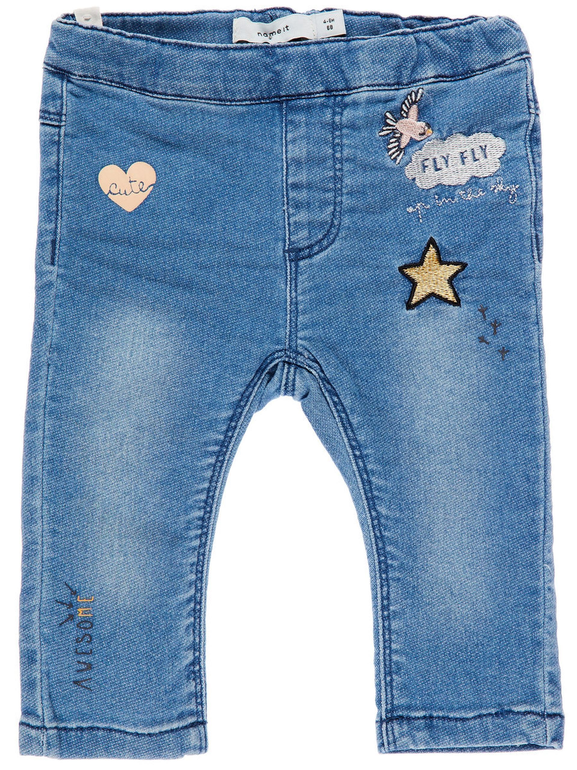 4a21ebc24 NAME IT Baby Denim Bukser Med Badges