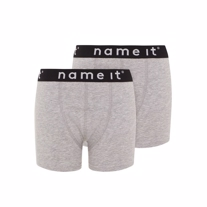 NAME IT 2-Pak Basis Boksershorts Grå
