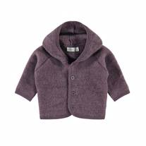 NAME IT Merinould Hætte Cardigan Black Plum