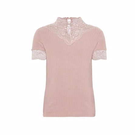 NAME IT Kortærmet Blonde Bluse Rosa