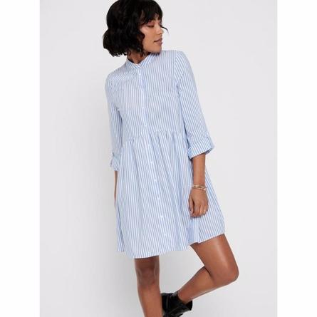 Billede af ONLY Stribet Skjortekjole Ditte Stribet Cloud Dancer - Tøjstørrelser: L