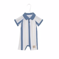 MINIATURE Polo Romper Blue Horizon